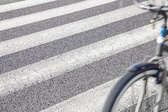 Bicycle moving with zebra crossing background. Zebra crossing with bicycle moving on foreground Stock Images