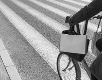 Bicycle moving on zebra crossing in sunny day. Zebra crossing with bicycle moving on foreground (black & white&#x29 Stock Images