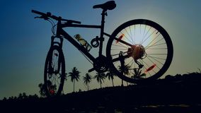 Bicycle. My bicycle silhouette in the morning Stock Photography