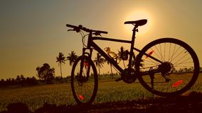 Bicycle. My bicycle silhouette in the morning Stock Photo
