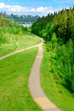 Bicycle Nature Trail. A bicycle path leads to the river valley of Edmonton, Alberta, Canada Stock Image