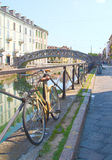 Bicycle on the naviglio, milan Stock Image