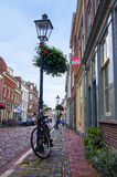 Bicycle near the lamp post on Lange Smeestraat Royalty Free Stock Images