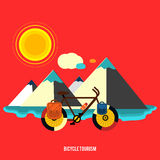 Bicycle near the mountain. Bicycle tourism. Royalty Free Stock Photo