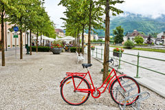 Bicycle near river in Bad Ischl Royalty Free Stock Photography