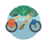 Bicycle near the trees. Bicycle tourism. Royalty Free Stock Photography