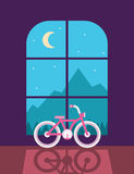 Bicycle next to the window. With flat style Stock Photo