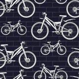 Bicycle o contorno que tira o teste padrão sem emenda, esboço, coloração, fundo do vetor Esboce a metade-cara tirada branca das b ilustração royalty free
