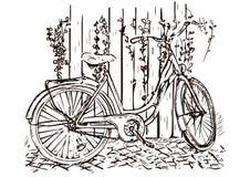 Bicycle o desenho da mão, esboço, coloração, imagem preto e branco monocromática, ilustração do vetor ilustração royalty free