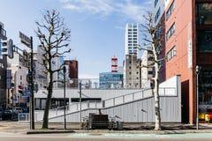 Bicycle o parque de estacionamento na área superior com árvores leafless e a arquitetura da cidade no fundo em Sapporo no Hokkaid Fotos de Stock Royalty Free