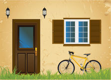 Bicycle And Old House Royalty Free Stock Images