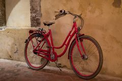 Bicycle in the open air cloisters next to the Church of San Francesco / Chiostro di San Francesco in Sorrento on the Amalfi Coast. stock photography