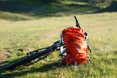 Bicycle with orange bags for travel Royalty Free Stock Image