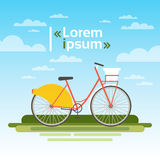Bicycle Outdoors On Green Grass Over Blue Sky No People Ecological Clean Transport Concept. Flat Vector Illustration Stock Images