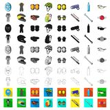 Bicycle outfit cartoon icons in set collection for design. Bicycle and tool vector symbol stock web illustration. Bicycle outfit cartoon icons in set collection stock illustration