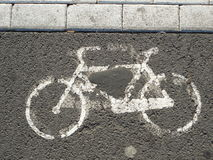 Bicycle outline on concrete Royalty Free Stock Photos