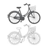 Bicycle outline. Lady's bike with basket isolated on white background. Bicycle outline Stock Photography