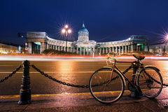 Bicycle over Kazan Cathedral, St. Petersburg, Russia Royalty Free Stock Photo