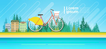 Bicycle Over Summer Landscape Mountain Forest Trees On River Bank Ecological Transport Concept Royalty Free Stock Image