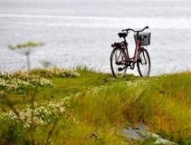 Bicycle overlooking ocean Royalty Free Stock Photo