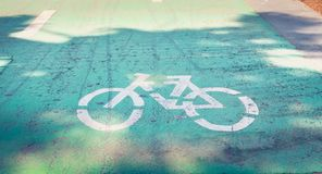 Bicycle painted white on the road to indicate a bicycle pisa Royalty Free Stock Photography