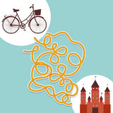Bicycle and Palace labyrinth game for Preschool Children. Vector Royalty Free Stock Photo