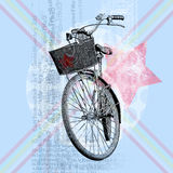 Bicycle with a pale blue background. Stock Photos