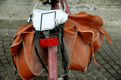 The bicycle  pannier  (bag) Stock Photo