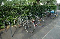 Bicycle park. An area to lock up and store securely bicycles outside a public building Royalty Free Stock Image