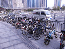 Bicycle park on roadside. In a city Royalty Free Stock Images