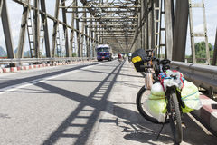 Bicycle park by traffic bridge in Myanmar city,touring by bicycl Royalty Free Stock Photos