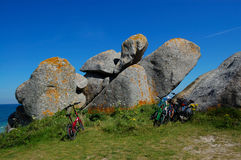 Bicycle parked on brittany coast, france royalty free stock photo