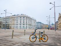 Bicycle parked on cityscape background in Vienna, Austria.Winter season royalty free stock images