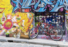 Bicycle parked in the Hosier Lane in Melbourne Stock Photos