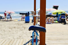Bicycle parked next to the sea Royalty Free Stock Image