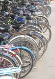 Bicycle parked at a school Stock Images