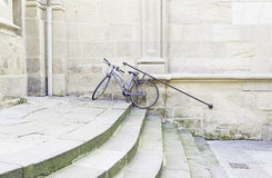 Bicycle parked on stairs Royalty Free Stock Images