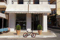 A bicycle parked on a street in old european town Stock Images