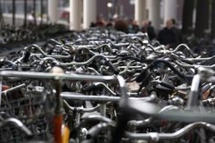 Bicycle Parking. Lots of bicycles parked in Amsterdam, The Netherlands Stock Images