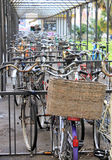 Bicycle Parking. A very full covered bicycle parking Royalty Free Stock Photos