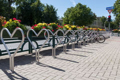 Bicycle parking. Heart shape bicycle parking spoot in a city Royalty Free Stock Photography