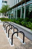 Bicycle parking. In city downtown Stock Photo
