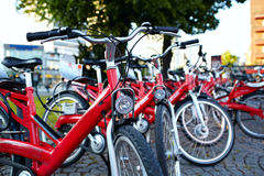 Bicycle parking. In the city. Shallow dof Royalty Free Stock Images