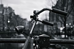 Bicycle parking in Amsterdam. Bicycle parking in black and white Stock Photography