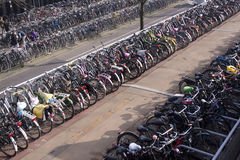 Bicycle parking in amsterdam Royalty Free Stock Images