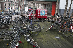 Bicycle parking in Amsterdam a large near the central station. Stock Images