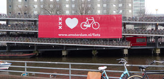 Bicycle parking in amsterdam Stock Images