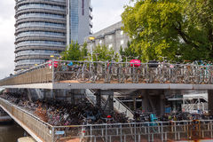 Bicycle parking in Amsterdam. Royalty Free Stock Image