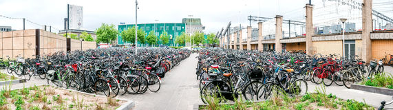 Bicycle parking area in Eindhoven Central Station Royalty Free Stock Images