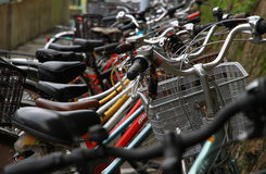 Bicycle in the parking area. A scene of many bicycle parking lot Royalty Free Stock Photos